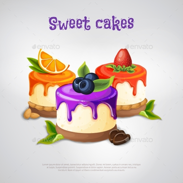Sweet Cakes Composition - Food Objects