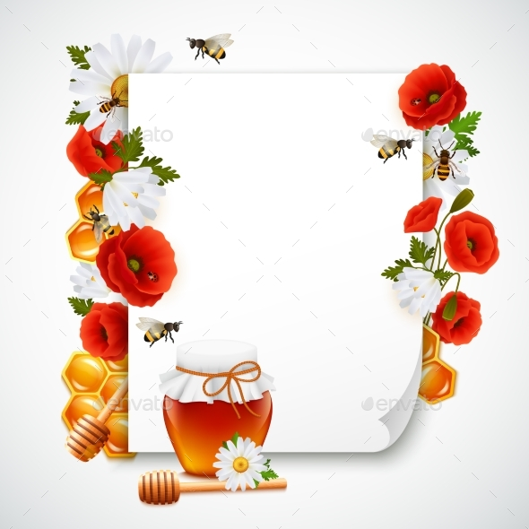 Paper and Honey Composition - Backgrounds Decorative