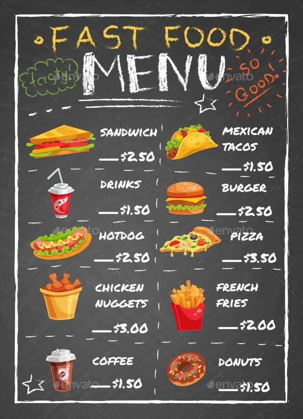 Fast Food Restaurant Menu On Chalkboard - Food Objects
