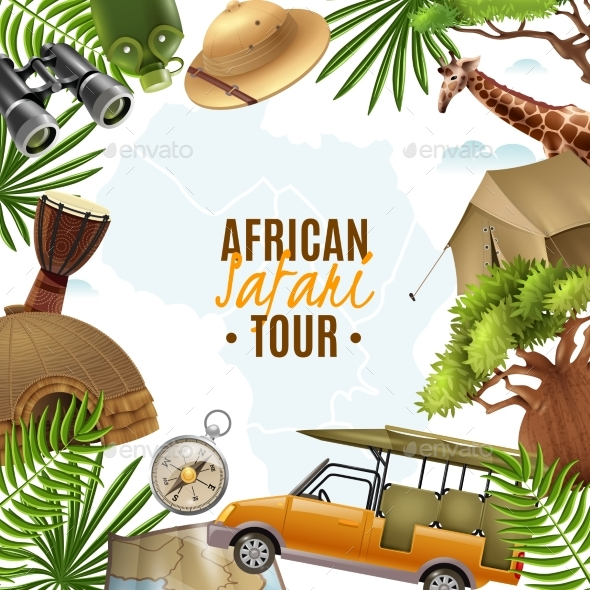 Safari Realistic Vector Illustration - Travel Conceptual