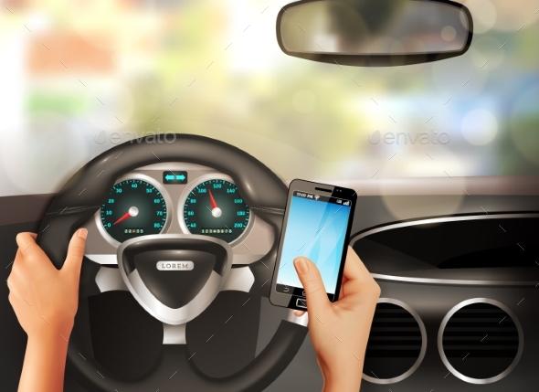 Car Inside Realistic Design Concept - Travel Conceptual