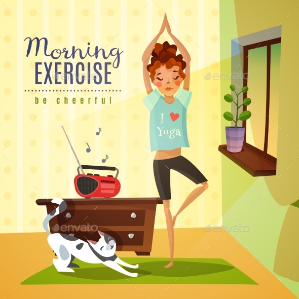 Morning Exercises Cartoon Composition - Backgrounds Decorative