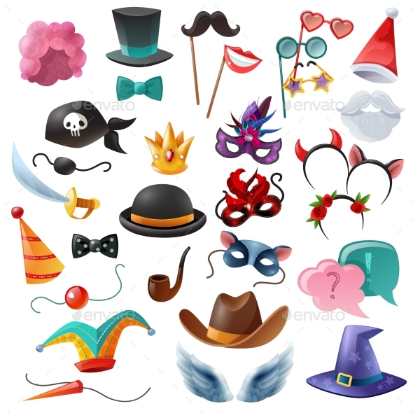 Photo Booth Party Icons Set - Birthdays Seasons/Holidays