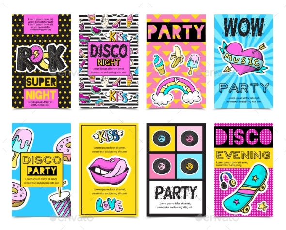 Fashion Patch Badges Banner Set - Objects Icons