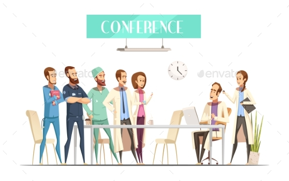 Medical Conference Cartoon Retro Style - Health/Medicine Conceptual