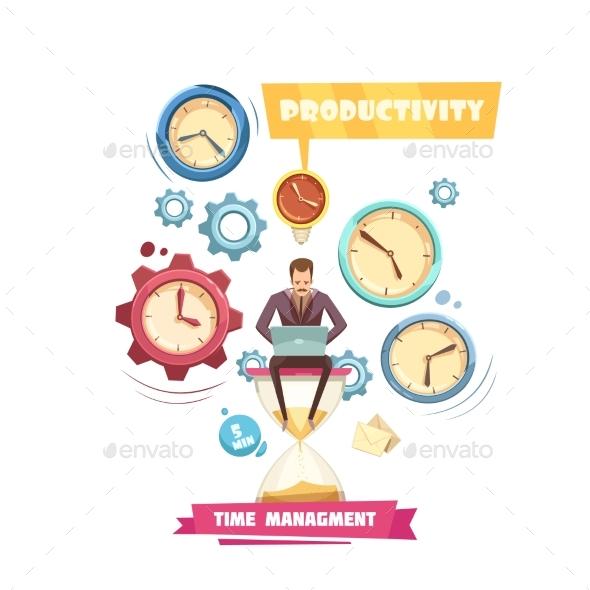 Time Management Retro Cartoon Concept - Concepts Business