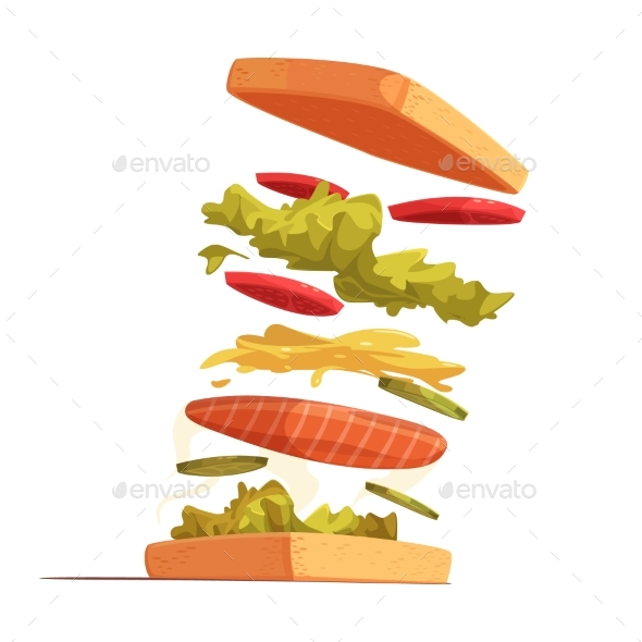Sandwich Ingredients Composition - Food Objects