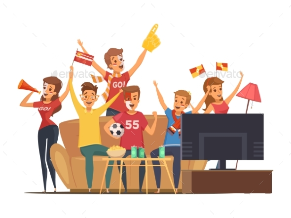 Sport Fans Watching TV Composition - Sports/Activity Conceptual