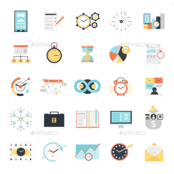 Time Management Icons Set - Business Icons