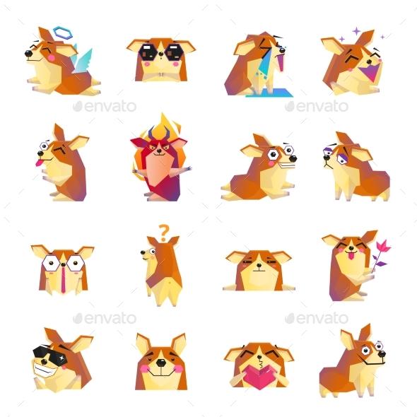 Corgi Dog Cartoon Icons Set - Animals Characters