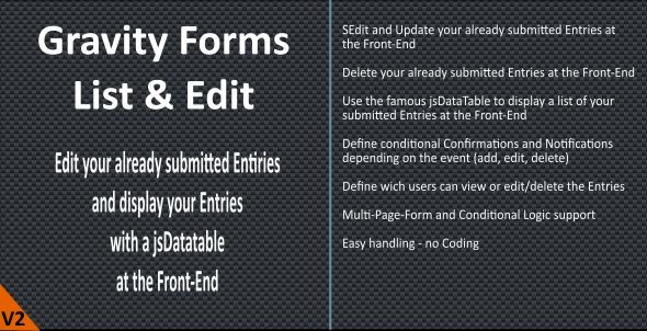 Gravity Forms - List & Edit - CodeCanyon Item for Sale