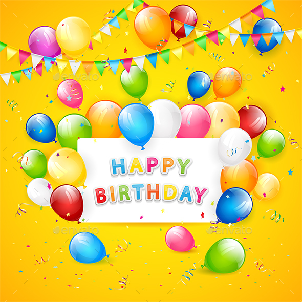 Birthday Balloons and Tinsel on Yellow Background - Birthdays Seasons/Holidays