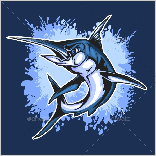 Realistic Blue Marlin Fish - Animals Characters