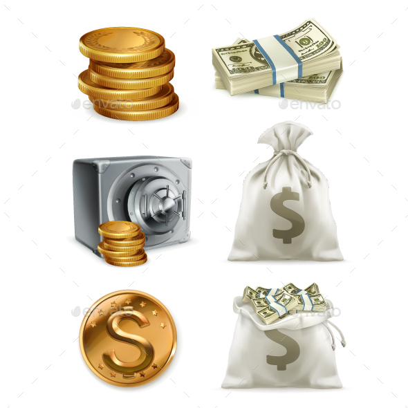 Paper Money and Gold Coin with Moneybag - Man-made Objects Objects