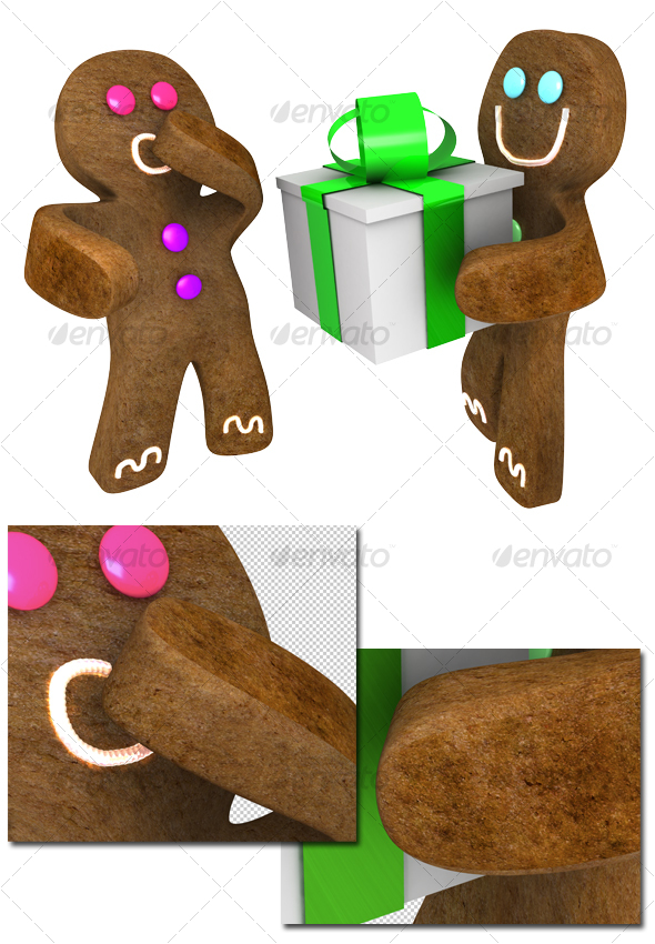 Gingerbread man giving present to friend - Objects 3D Renders