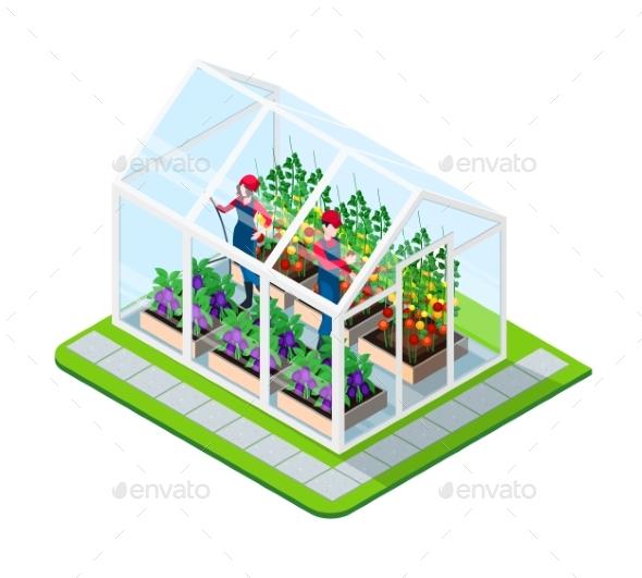 Greenhouse Isometric Concept - Flowers & Plants Nature