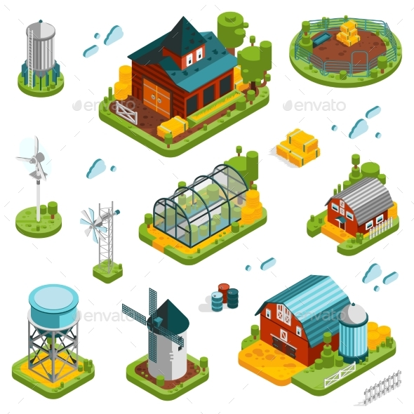 Farm Landscape Elements Set - Miscellaneous Vectors