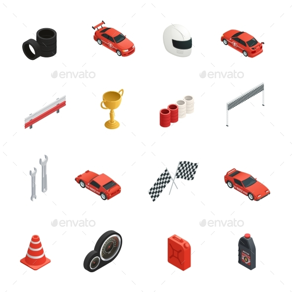 Racing Isometric Icons Set - Sports/Activity Conceptual