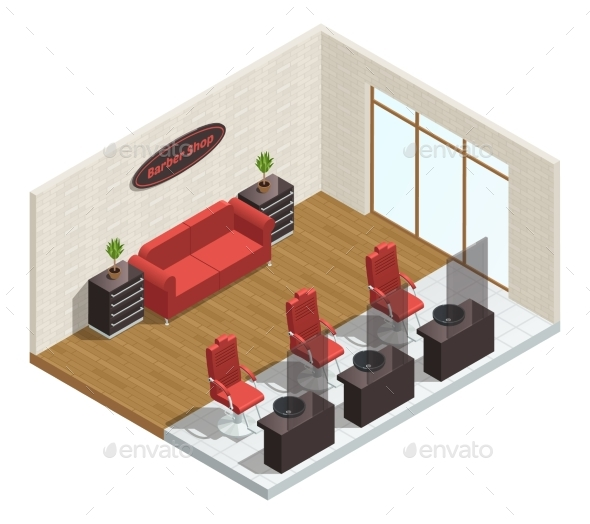 Barber Shop Isometric Interior - Buildings Objects