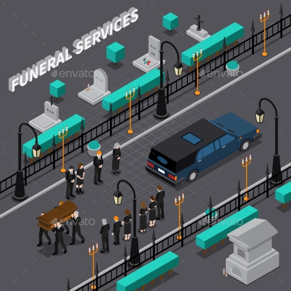 Funeral Services Isometric Composition - Industries Business
