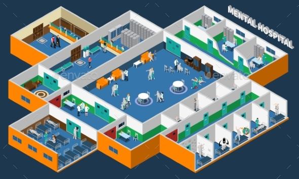 Mental Hospital Isometric Interior - Health/Medicine Conceptual