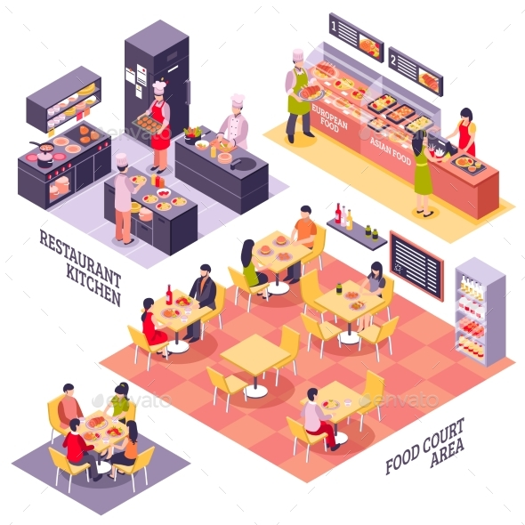 Food Court Design Concept - Food Objects