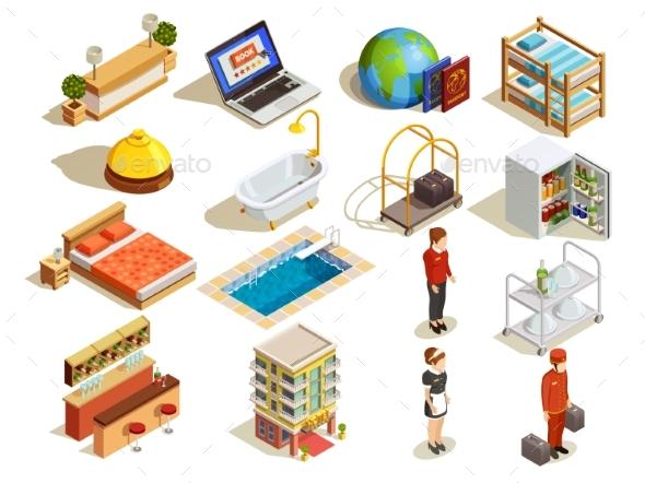Hotel Isometric Elements Set - Travel Conceptual