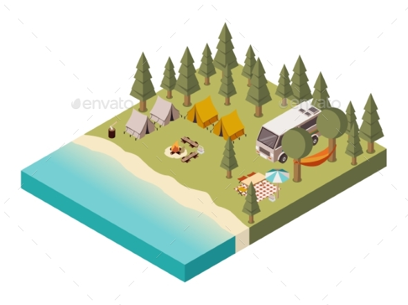 Camp Near Lake Isometric Illustration - Sports/Activity Conceptual