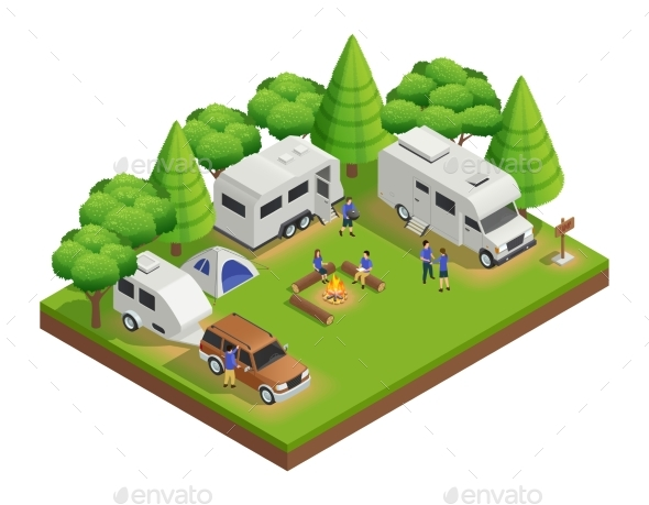 Recreational Vehicles Isometric Composition - Travel Conceptual