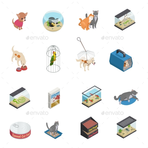 Pet Shop Icons Set - Animals Characters