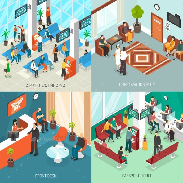 Isometric Waiting Areas Set - Concepts Business