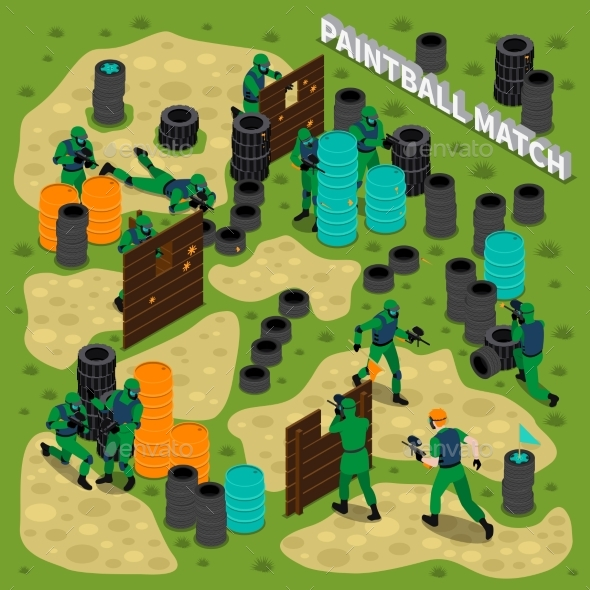 Paintball Match Isometric Illustration - Sports/Activity Conceptual