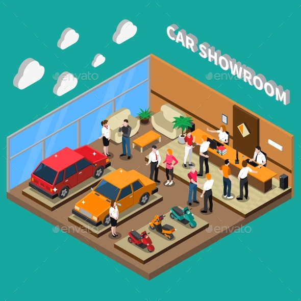 Car Showroom Isometric Illustration - Industries Business