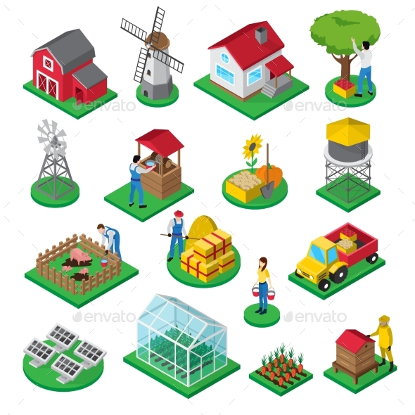 Farm Facilities Workers Isometric Icons Set - Miscellaneous Vectors