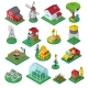 Farm Facilities Workers Isometric Icons Set