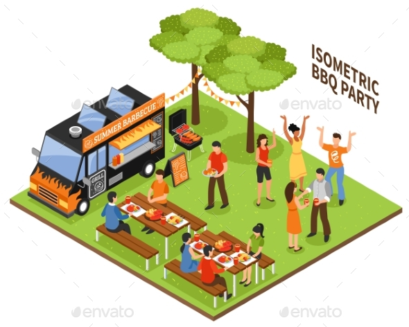 Isometric BBQ Party - People Characters
