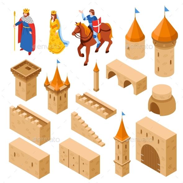 Medieval Royal Castle Isometric Set - Miscellaneous Vectors