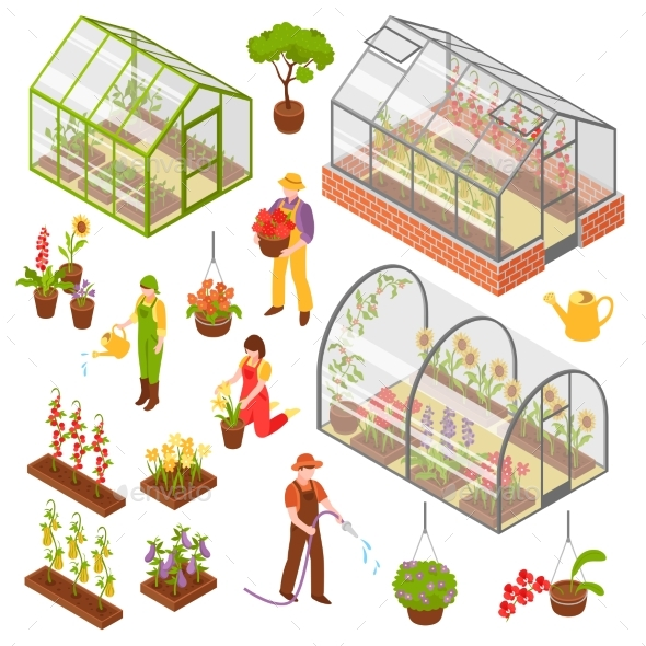 Isometric 3d Greenhouse Icon Set - Flowers & Plants Nature