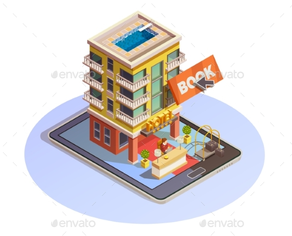 Hotel Booking Button Isometric Tablet Icon - Buildings Objects