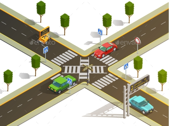 City Intersection Traffic Navigation Isometric - Miscellaneous Vectors