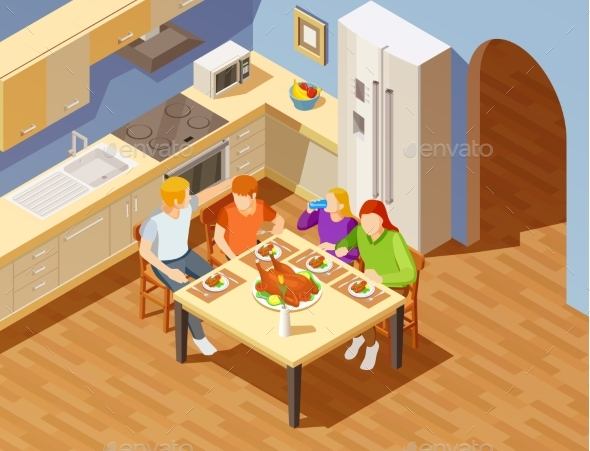 Family Dinner in Kitchen Isometric Image - Food Objects