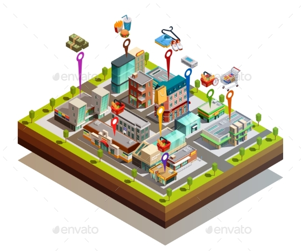 Store Buiding Island Isometric Concept - Buildings Objects