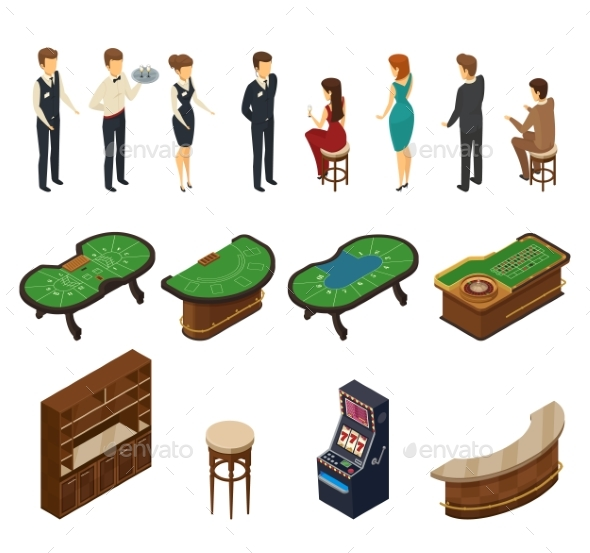 Casino Isometric Icon Set - People Characters