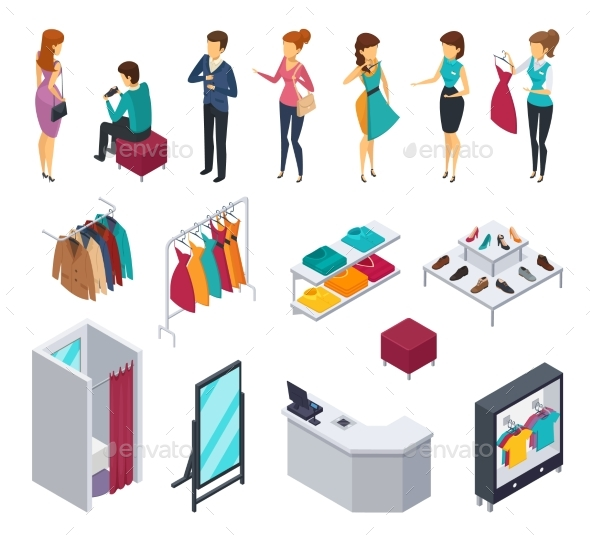 Trying Shop Isometric People Icon Set - Retail Commercial / Shopping