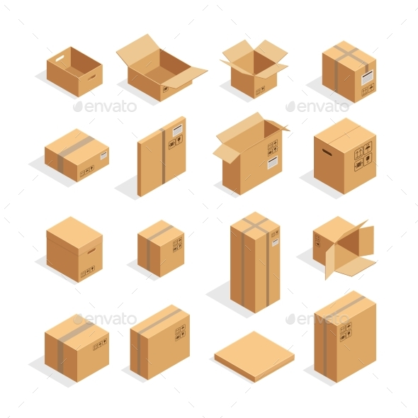 Isometric Packaging Boxes Set - Man-made Objects Objects