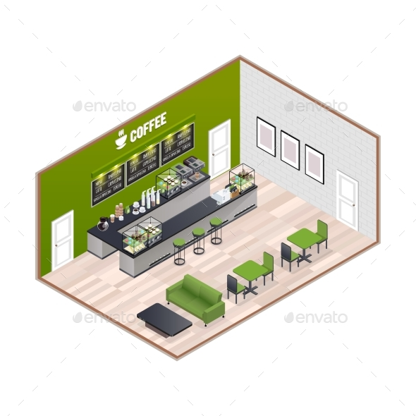 Coffee House Isometric Interior - Concepts Business