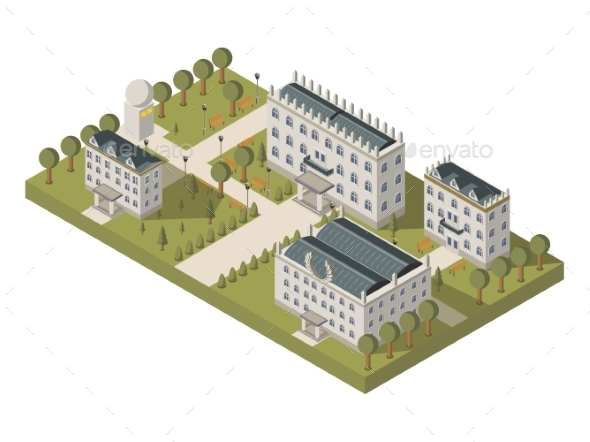 Isometric University Concept - Buildings Objects
