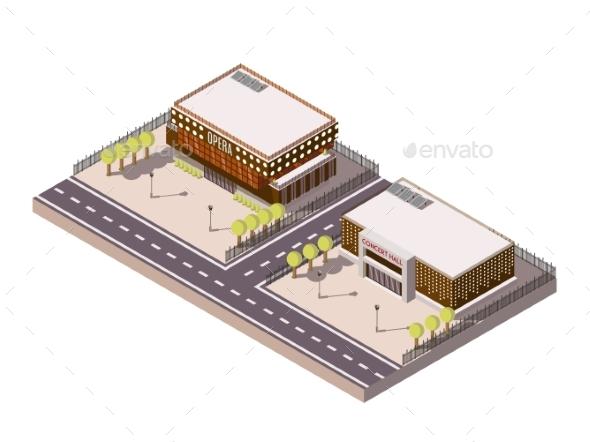 Entertainment Places Isometric Set - Buildings Objects