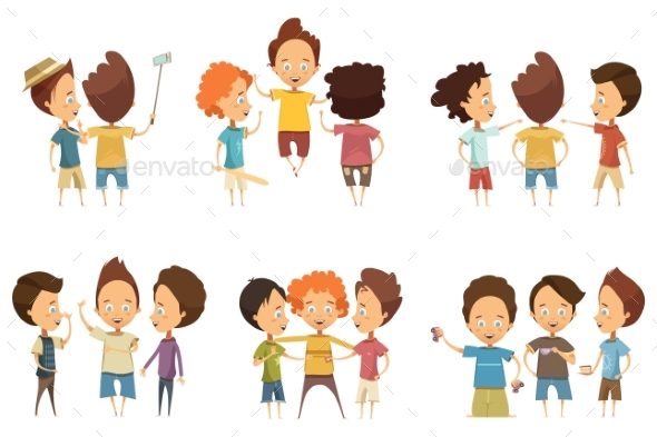 Groups of Boys Cartoon Style Set - People Characters
