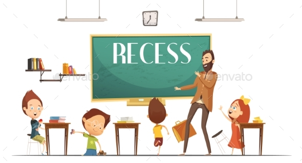 Primary School Recess Break Cartoon Illustration - People Characters